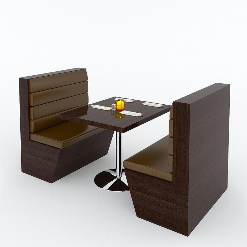 Restaurant booth 3d max