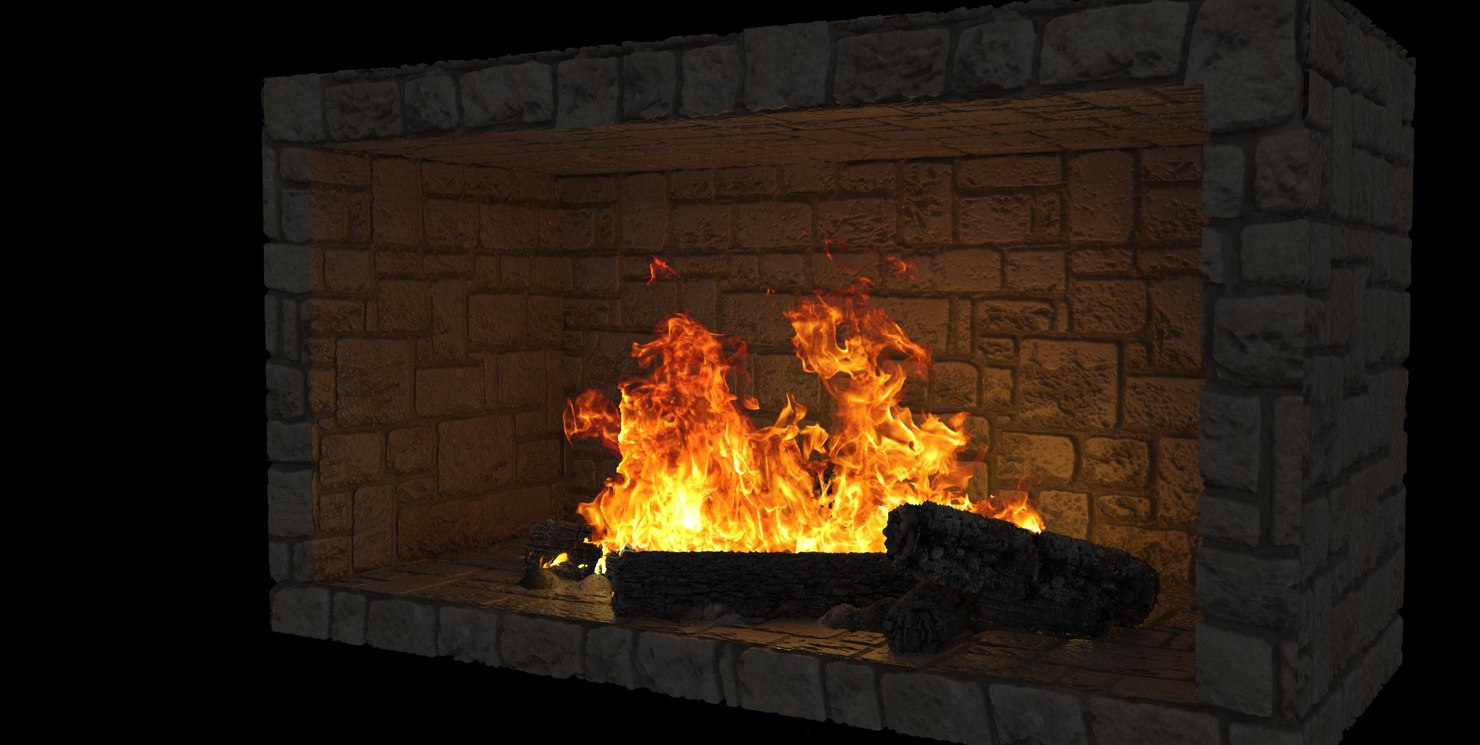 Fireplace Stone Stone Fireplace With Burning Fire