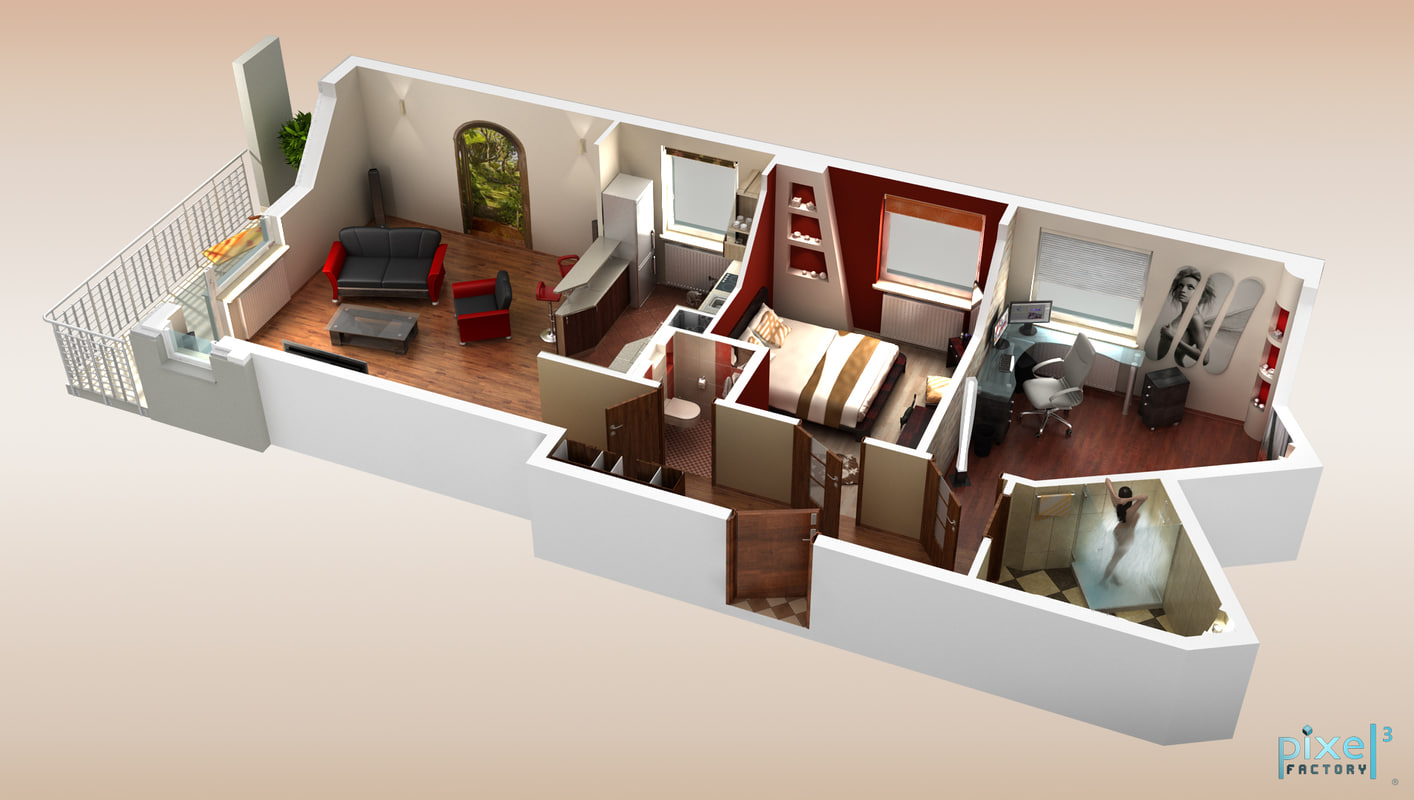 3d Appartement 3d Model Of Apartment Cross Section