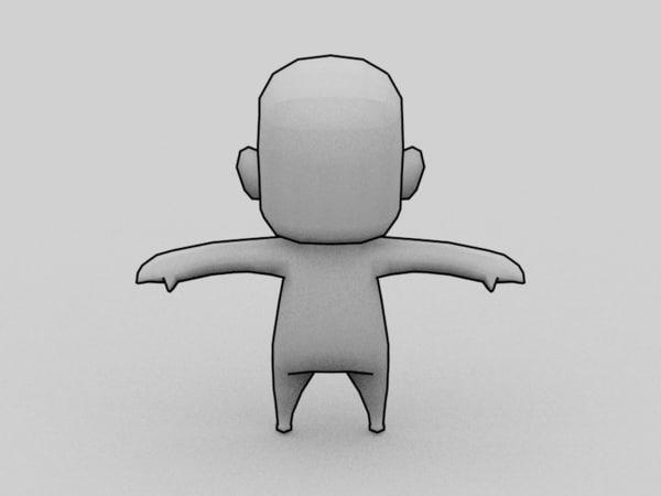 3d anime chibi character template model
