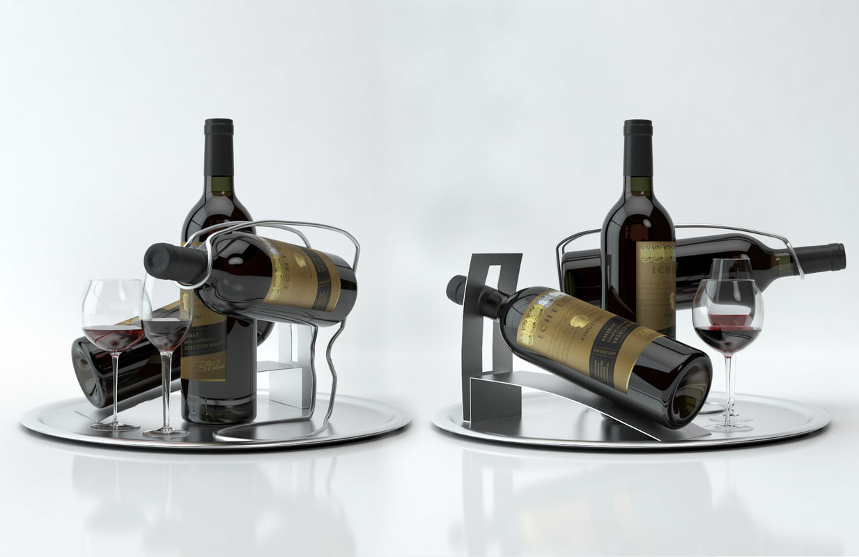 Wine Holder Stand Alcohol Set 8 Echelon Red Wine Bottle Glass Tray Wine Holder Stand High Quality Models Ready For Interior Project