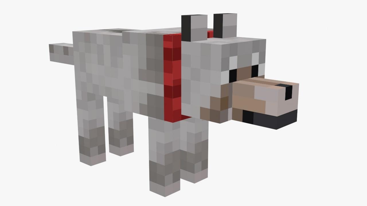 free minecraft wolf 3d model