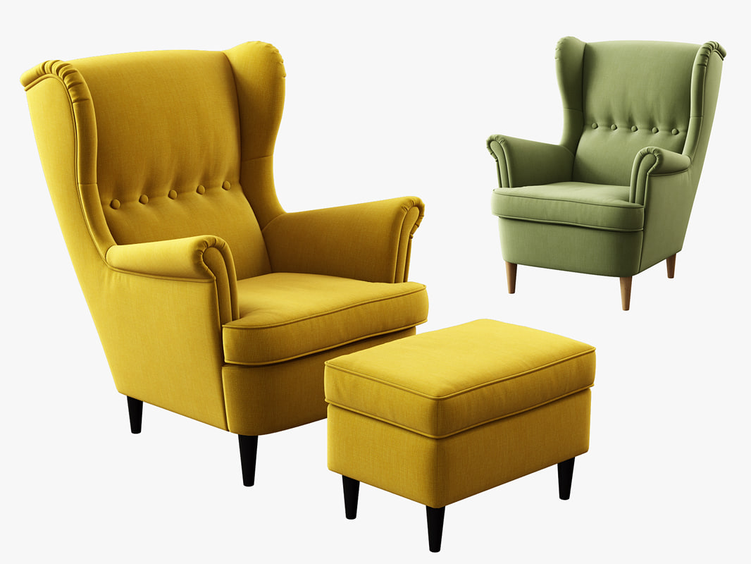 Strandmon Ikea Sofa 3d Model Ikea Strandmon Wing Chair Ottoman