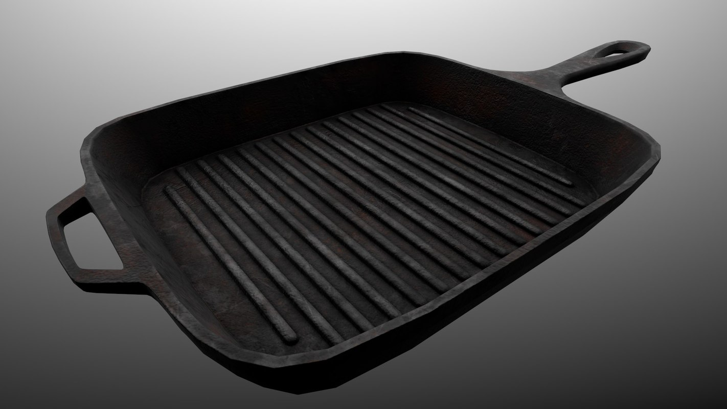 Grill Frying Pan Cast Iron Grill Pan Weapon Pbr Game Ready