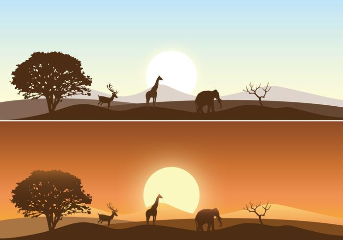 Cute Cartoon Giraffe Wallpaper African Sunrise Landscape Vector Pack Download Free