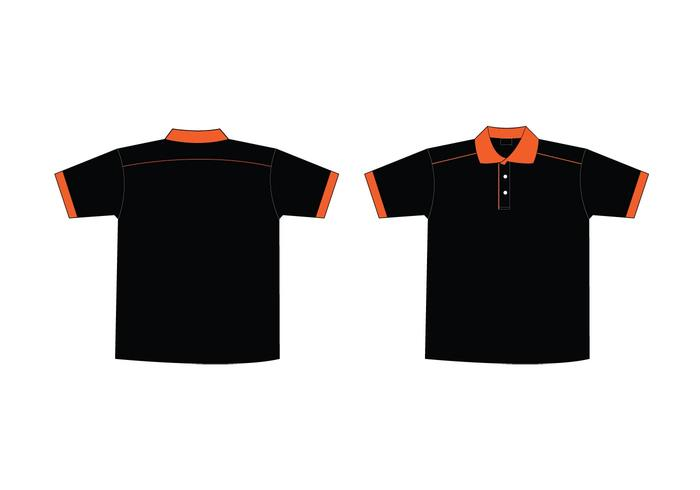 Free Black \ Orange Collar T-Shirt Template - Download Free Vector - t shirt template