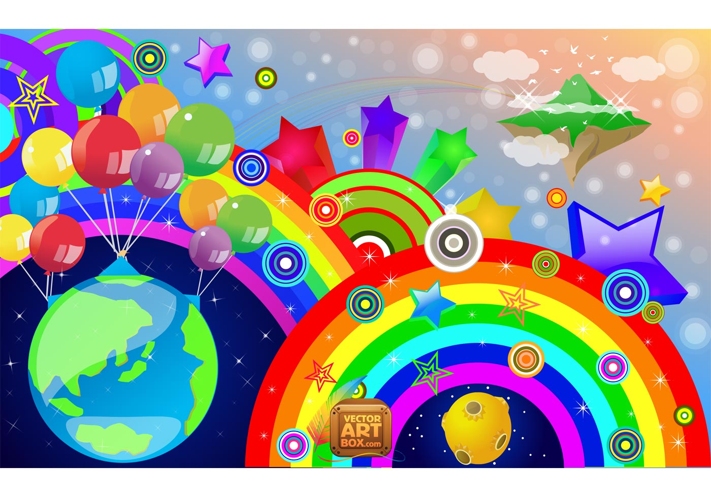 Little Girl Wallpaper Free Download Rainbow Vector