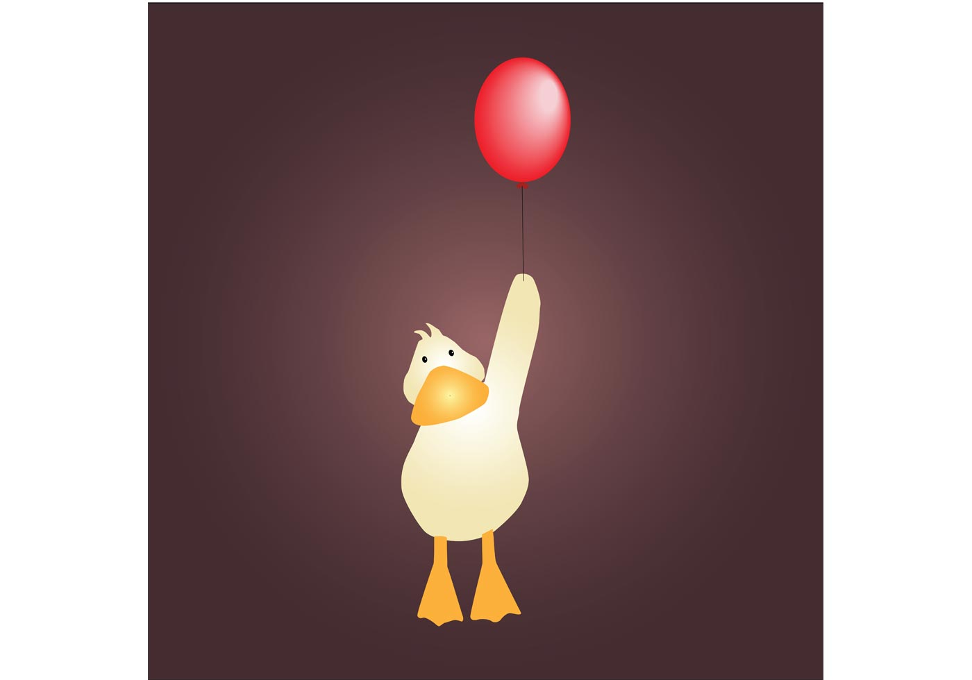 Cute Baby Animals Wallpaper Icon Free Cute Little Duck With Red Balloon Vector