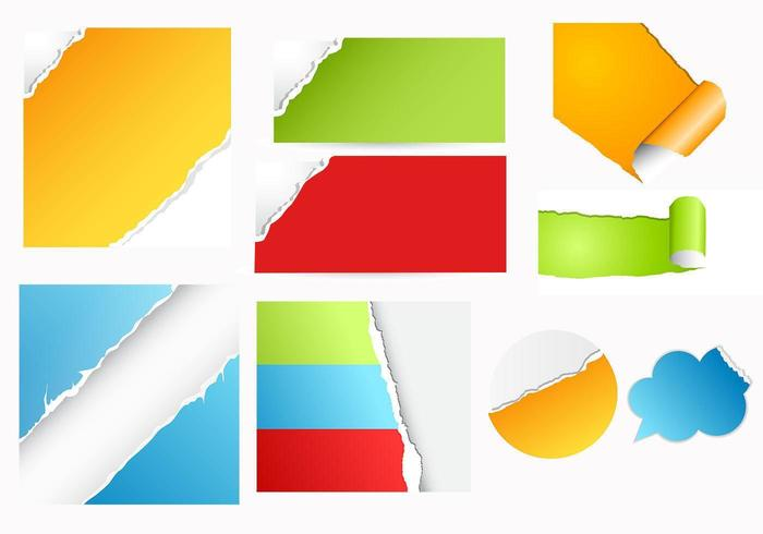 Colorful Torn Paper Vector Pack Download Free Vector Art