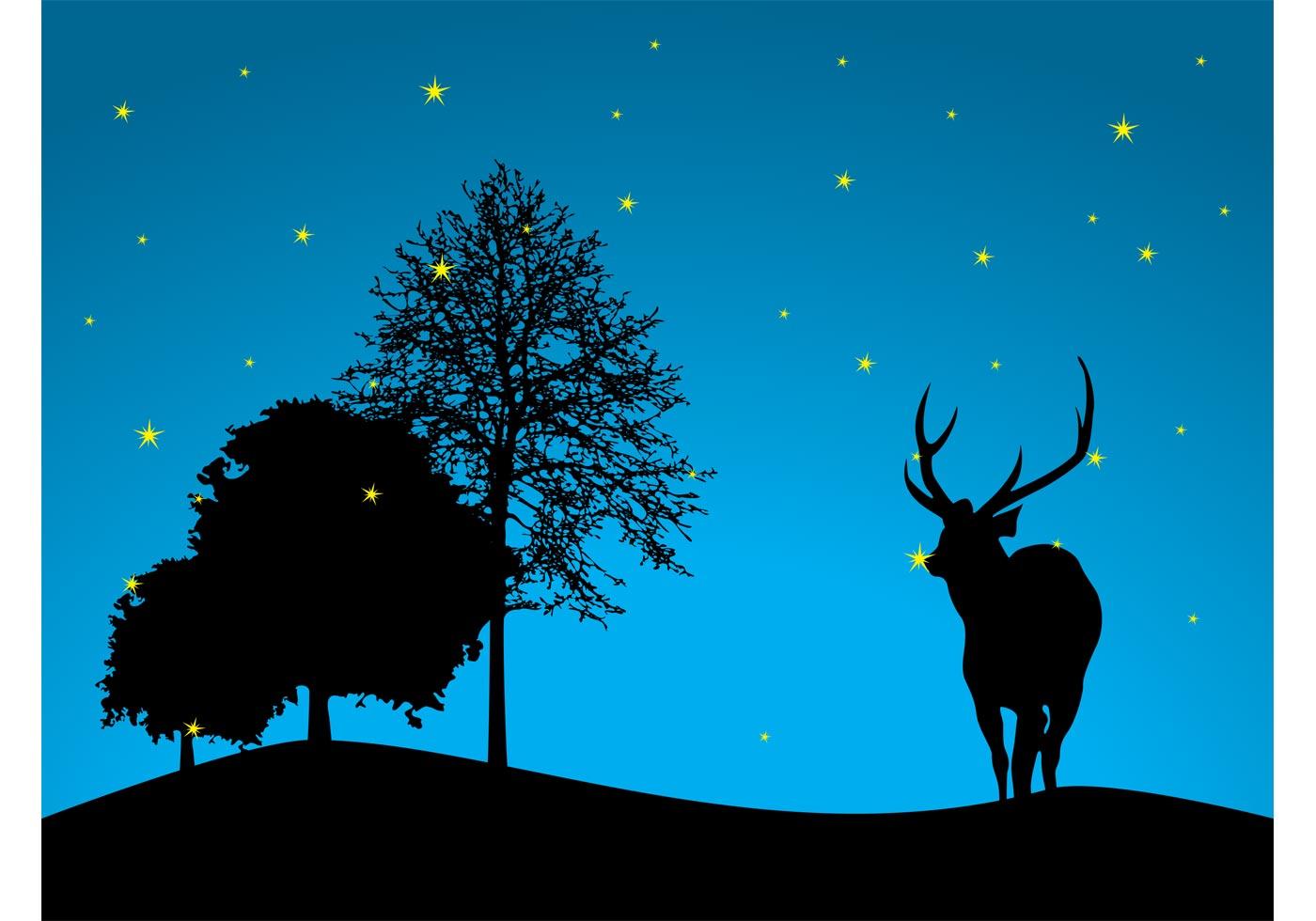 Reindeer Wallpaper Cute Night Forest Vector Download Free Vector Art Stock