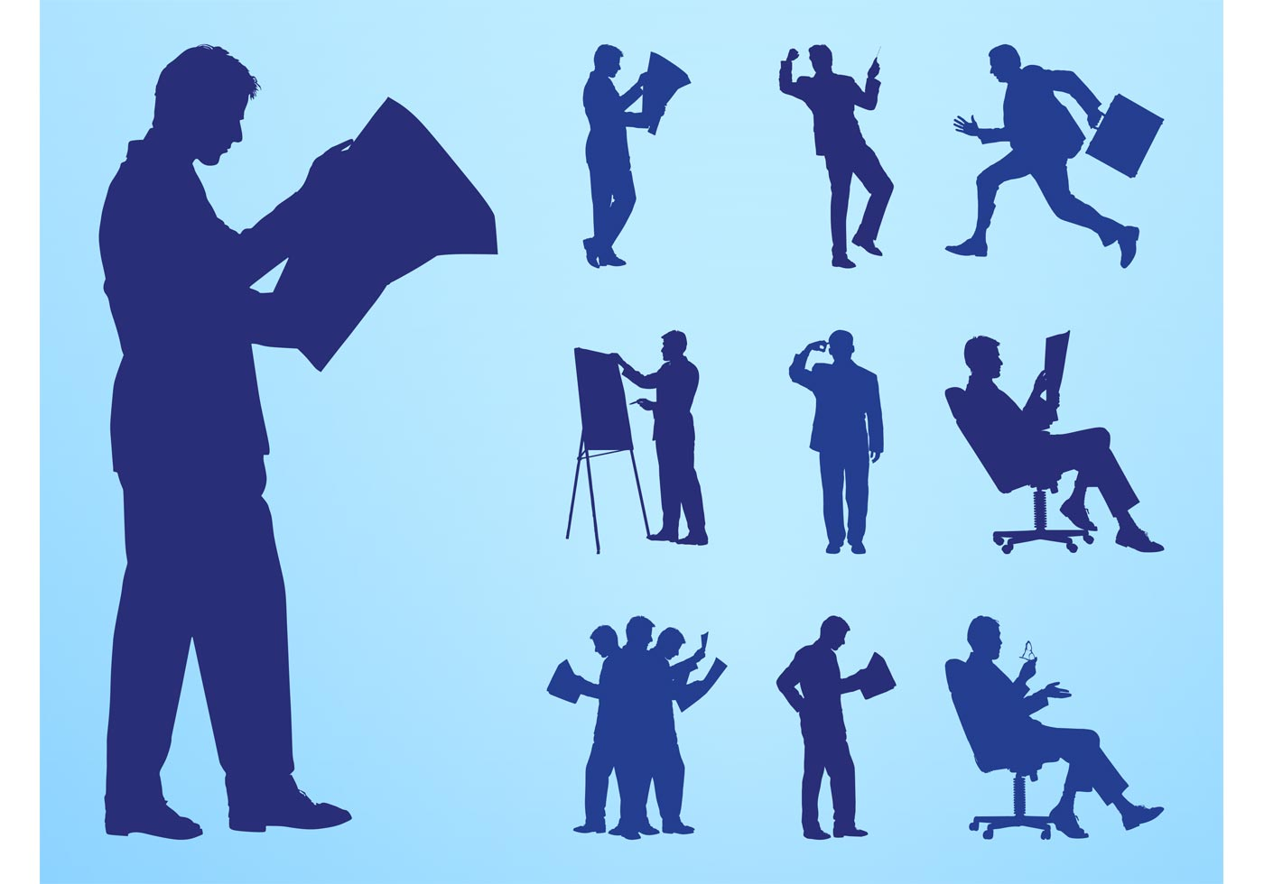 Silhouette Paintings Of People Reading And Working People Silhouettes Download Free