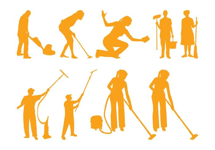 Cleaning People Silhouettes - Download Free Vector Art, Stock - pictures cleaning