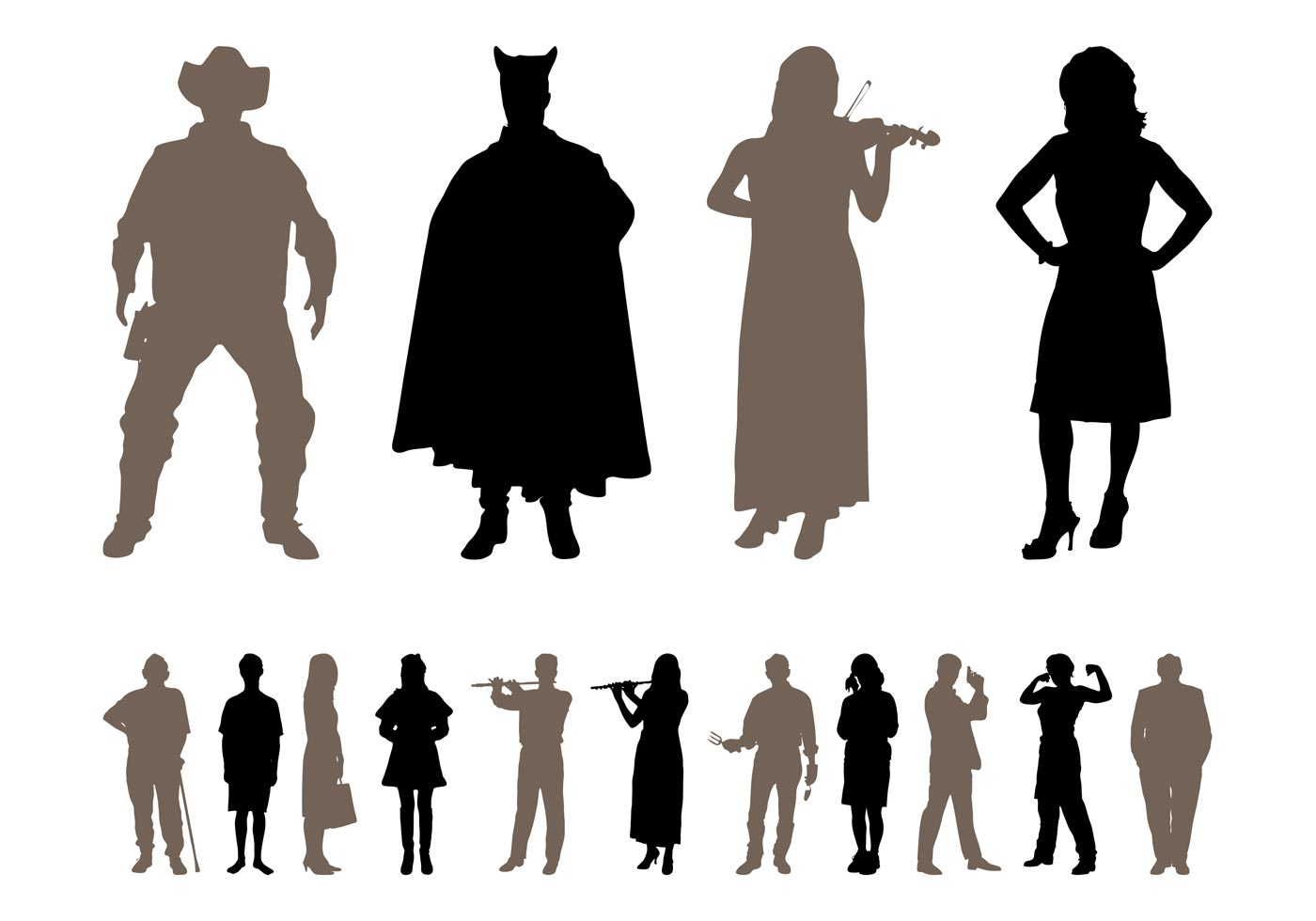 Silhouette Paintings Of People People Silhouettes Designs Pack Download Free Vector Art