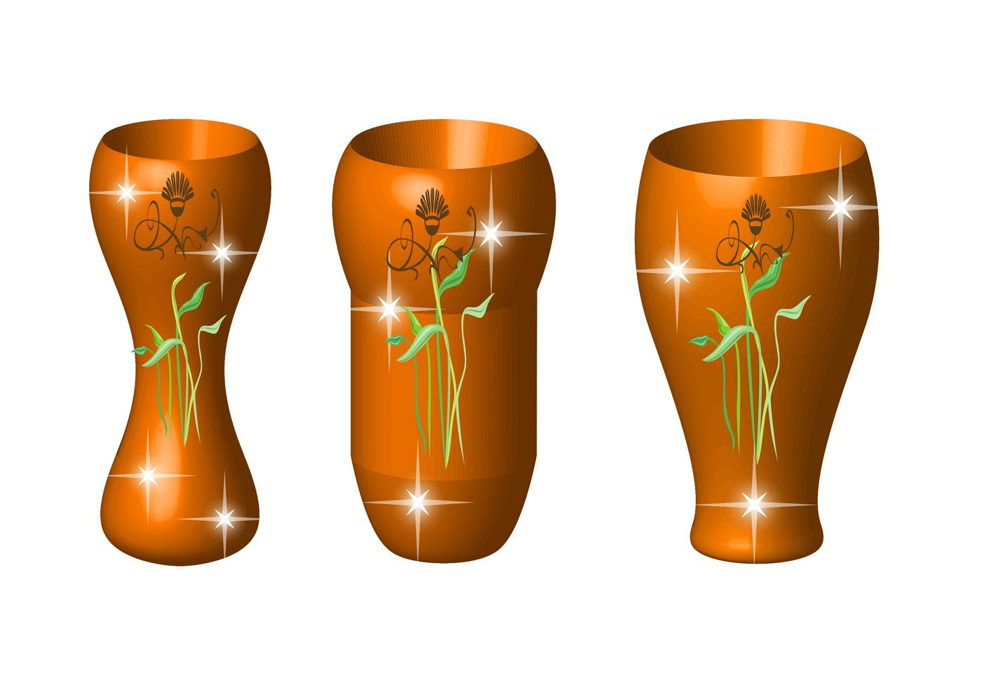 Glass Lamp Vector Vases With Flowers - Download Free Vector Art, Stock