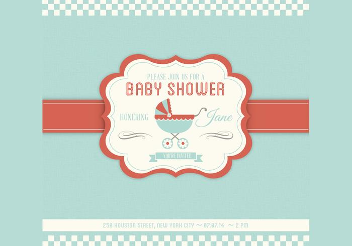 Baby Shower Vector Invitation Template - Download Free Vector Art - Free Baby Shower Label Templates