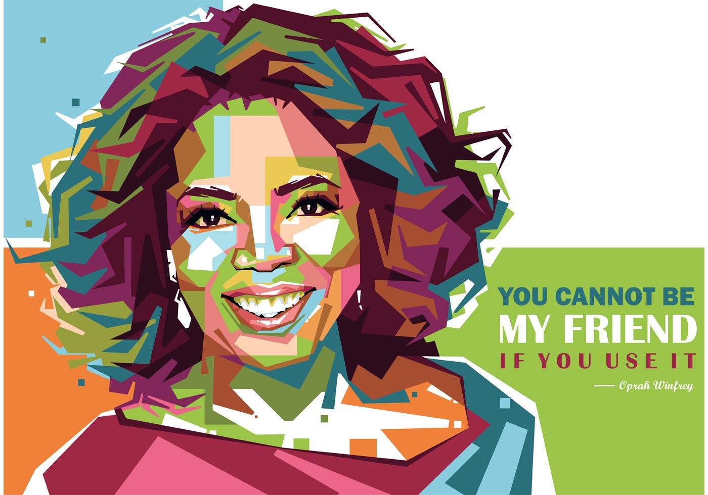 Hijab Wallpaper Girl Oprah Winfrey Vector Portrait Download Free Vector Art