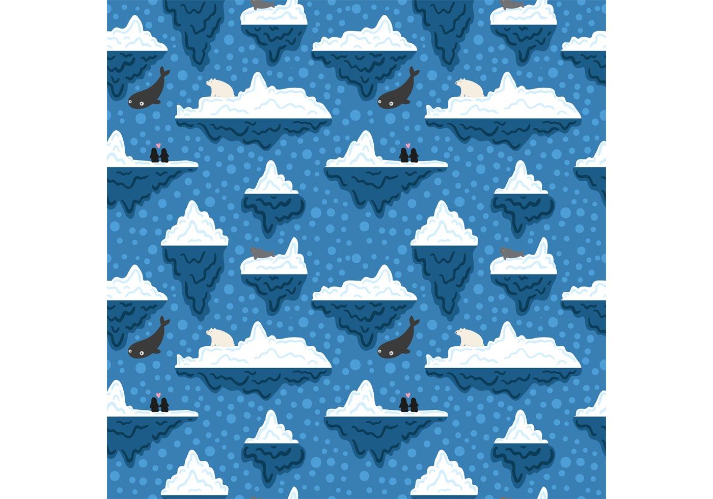 Cute Penguin Wallpaper Cartoon Free Iceberg Underwater Pattern Vector Download Free