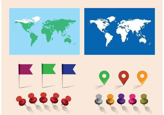 Free Vector World Map With Pins - Download Free Vector Art, Stock - pins on a map