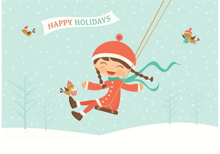 Vector Happy Holidays Swinging Kid - Download Free Vector Art, Stock - free images happy holidays