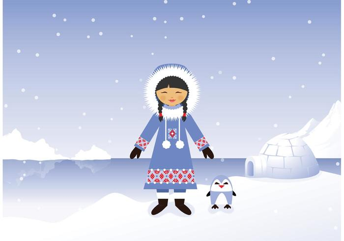 Cute Penguin Wallpaper Cartoon Free Vector Eskimo Girl In Snowy Polar Background