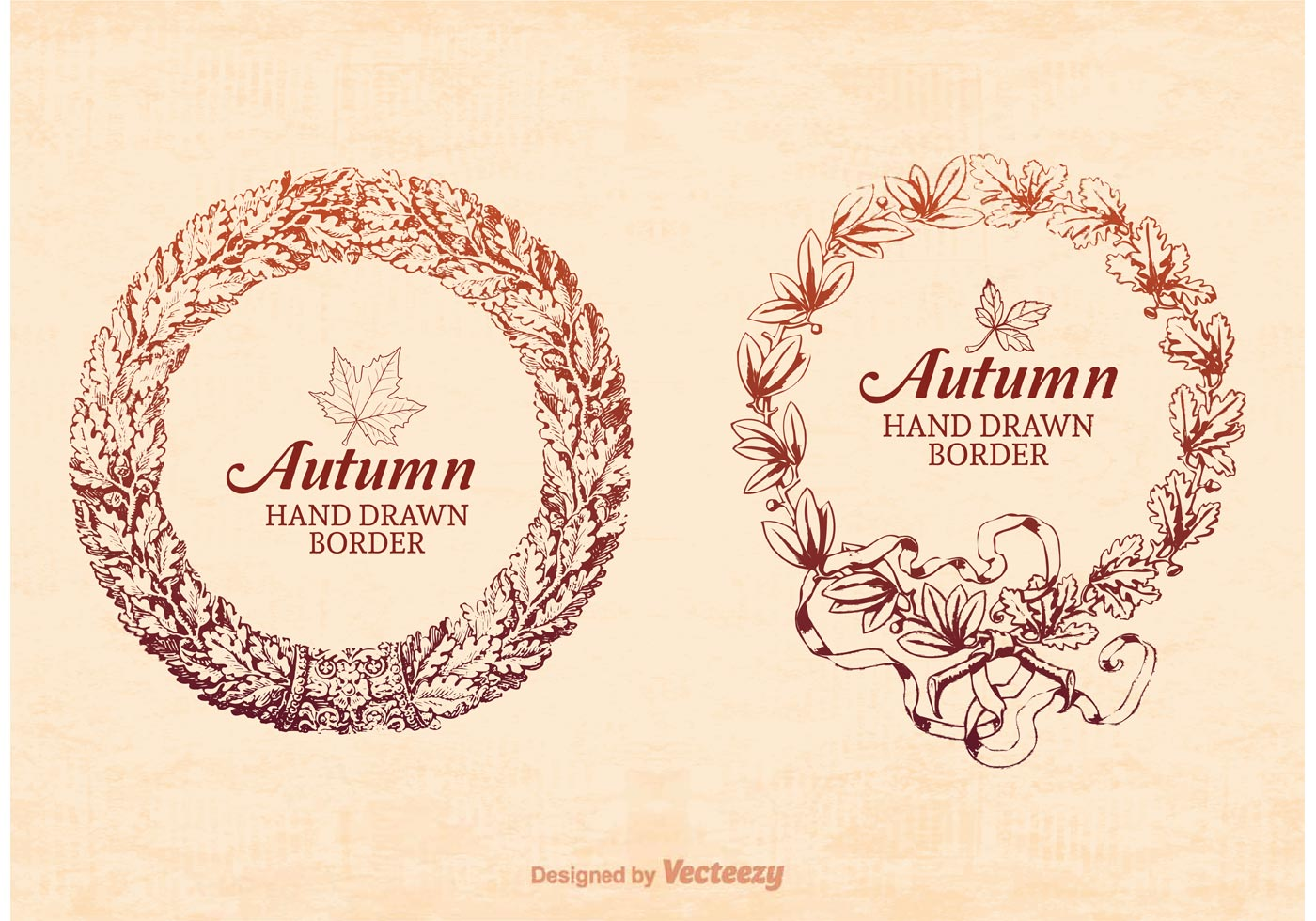 Fall Feather Wallpaper Free Hand Drawn Autumn Frame Border Vector Download Free
