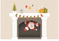 Free Santa Descends From Christmas Fireplace Vector ...