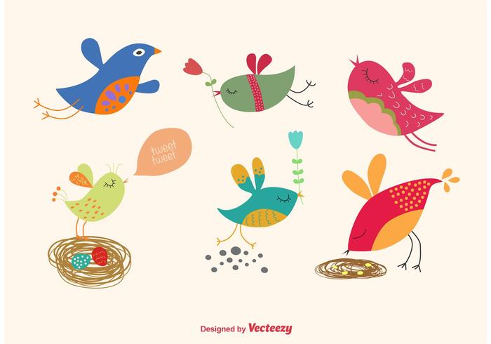Spring Cartoon Bird Vectors - Download Free Vector Art, Stock