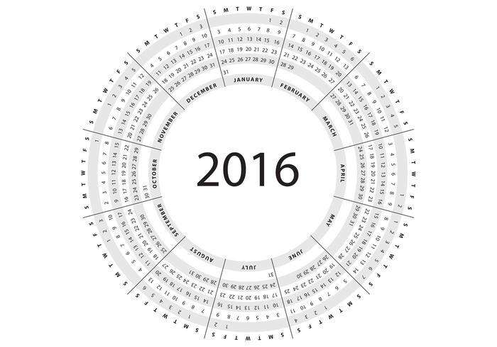 Gray Circular Calendar 2016 Vector - Download Free Vector Art, Stock - circular calendar