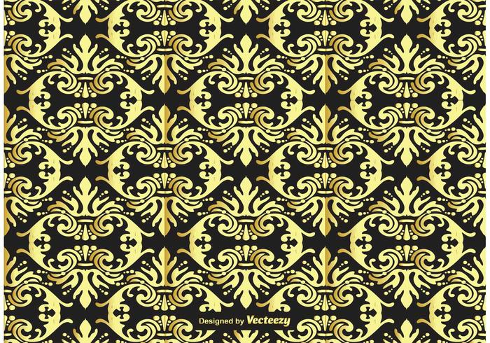 Gold and Black Damask Background - Download Free Vector Art, Stock