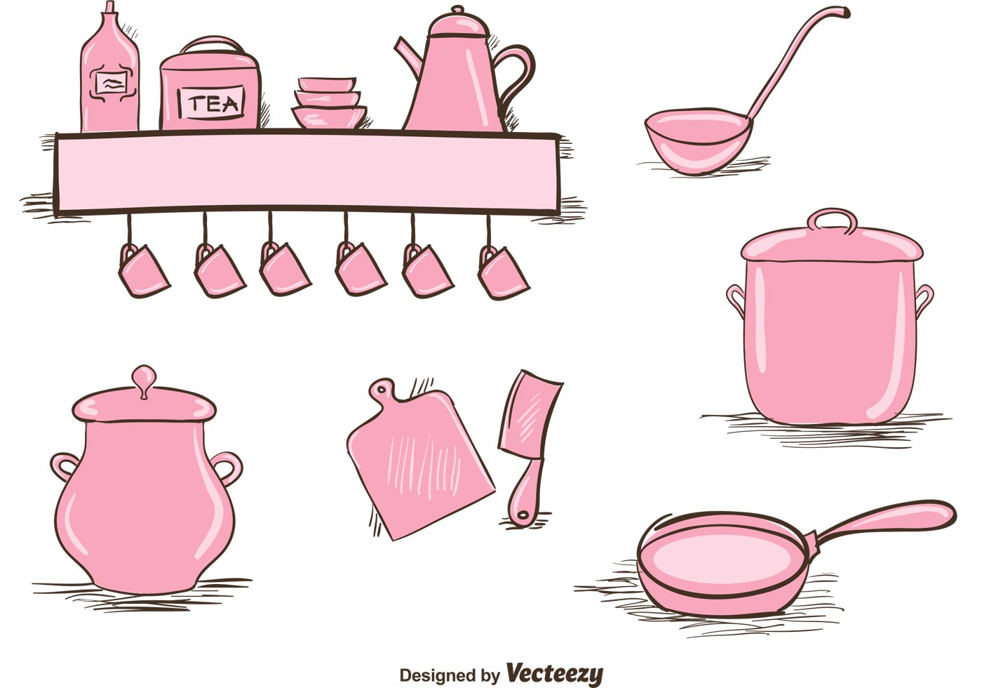 Pinke Küchenutensilien Vintage Kitchen Utensils Set Download Free Vector Art