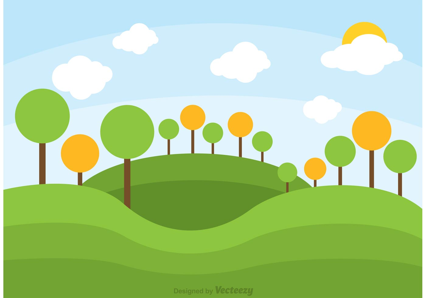 Animated Christmas Tree Wallpaper Rolling Hills Landscape Vector Download Free Vector Art