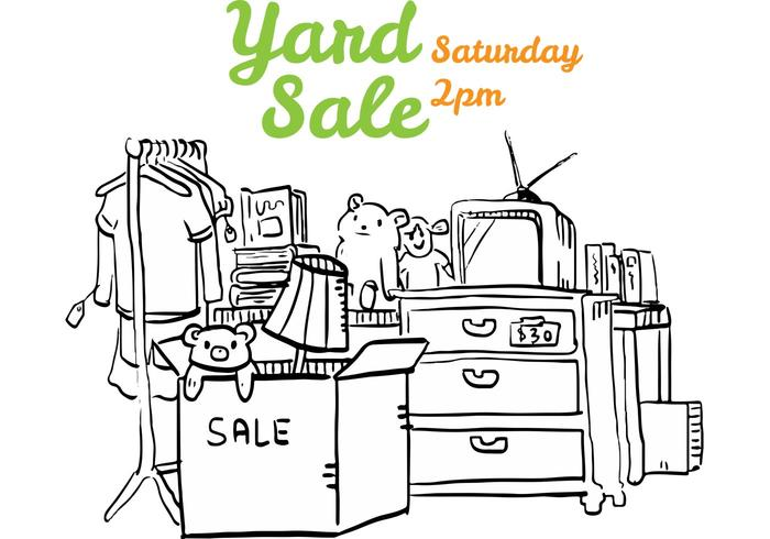 Yard Sale Flyer Illustration - Download Free Vector Art, Stock