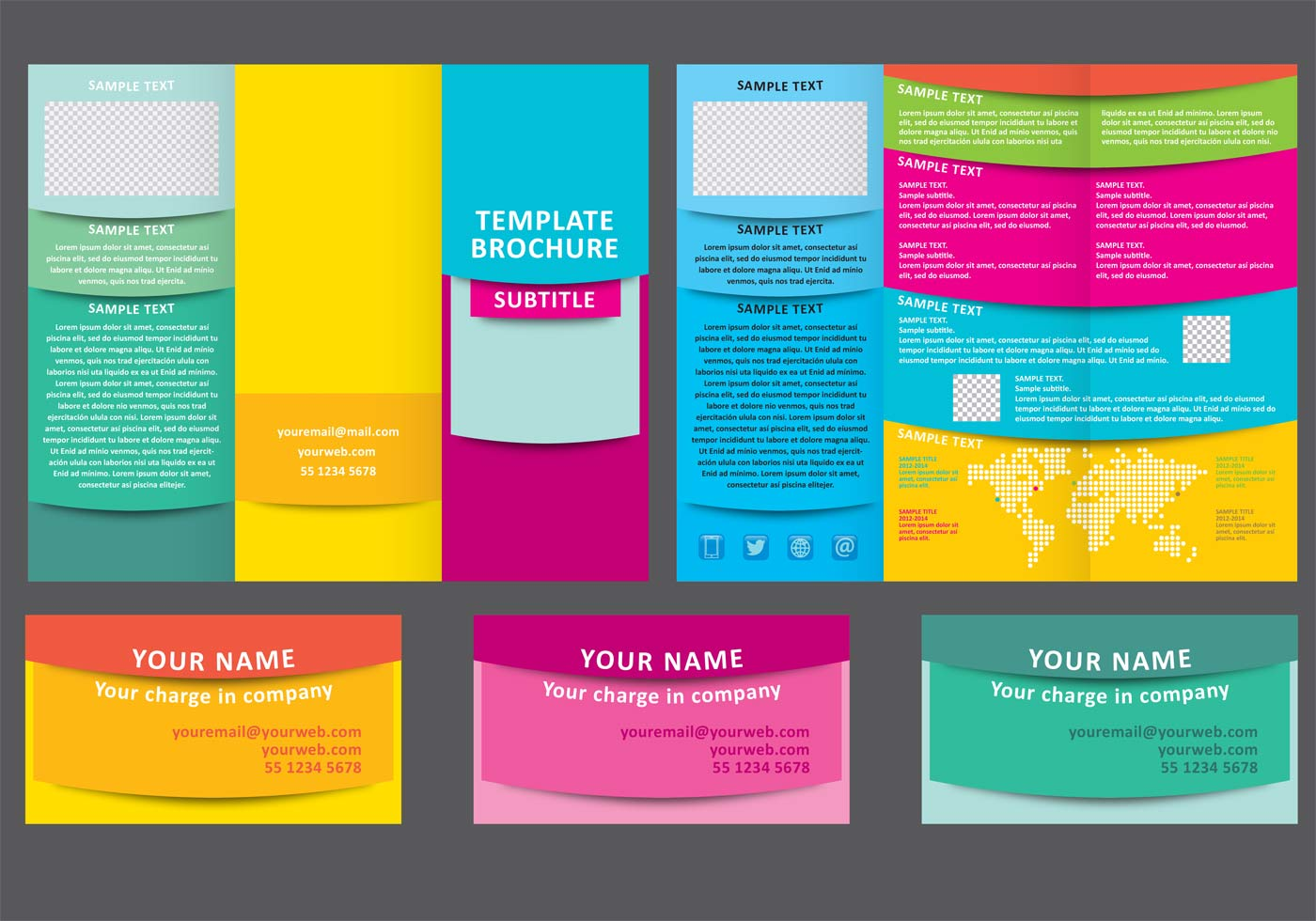 Colorful Fold Brochure Vector Template Download Free