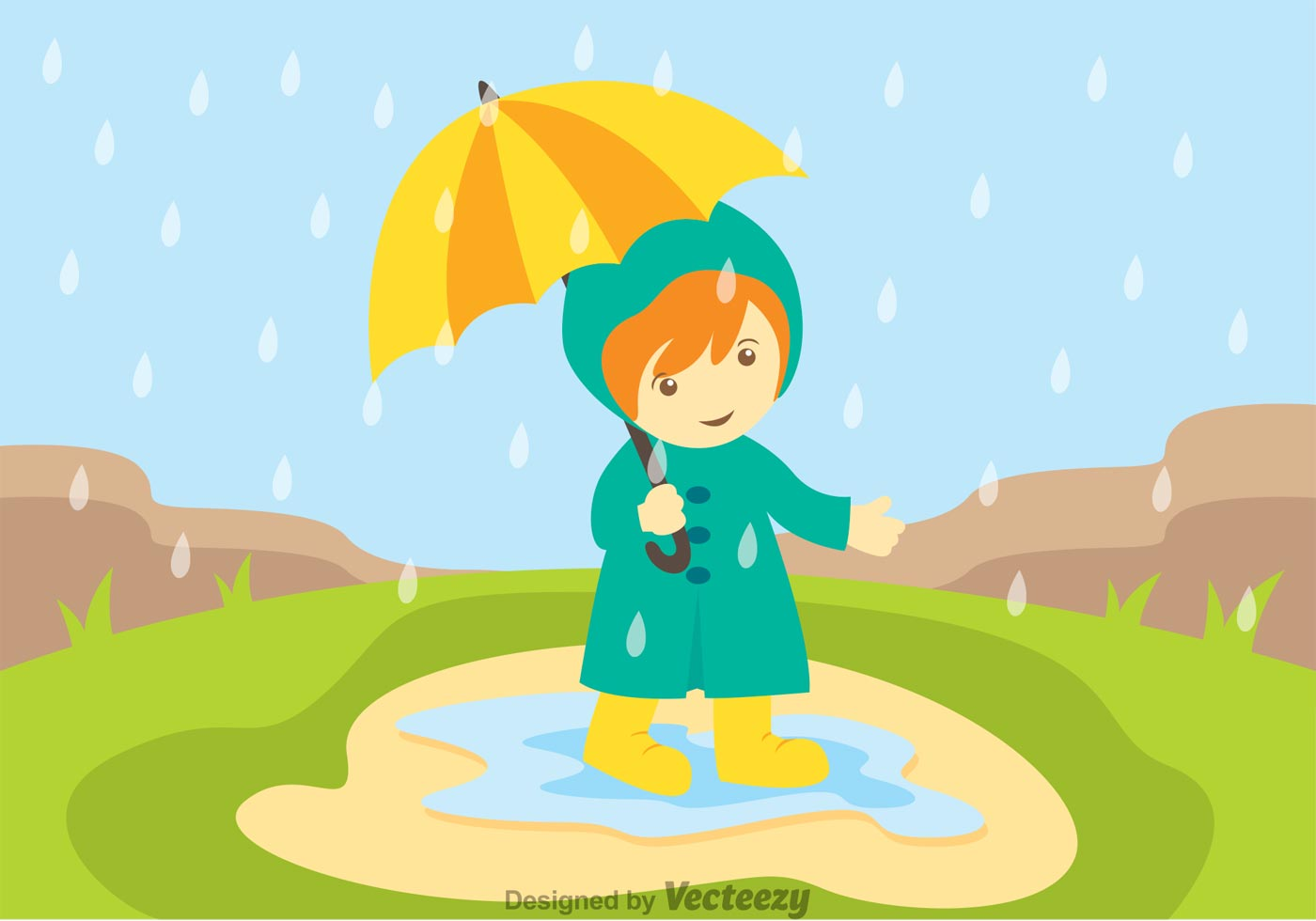 Flat Boots Girl Wallpaper Little Girl In Spring Showers Download Free Vector Art