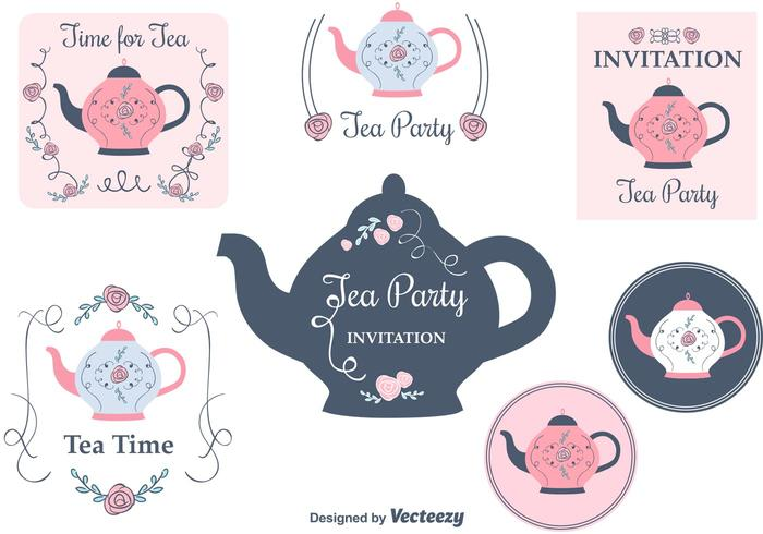 Tea Party Invitation Cards - Download Free Vector Art, Stock