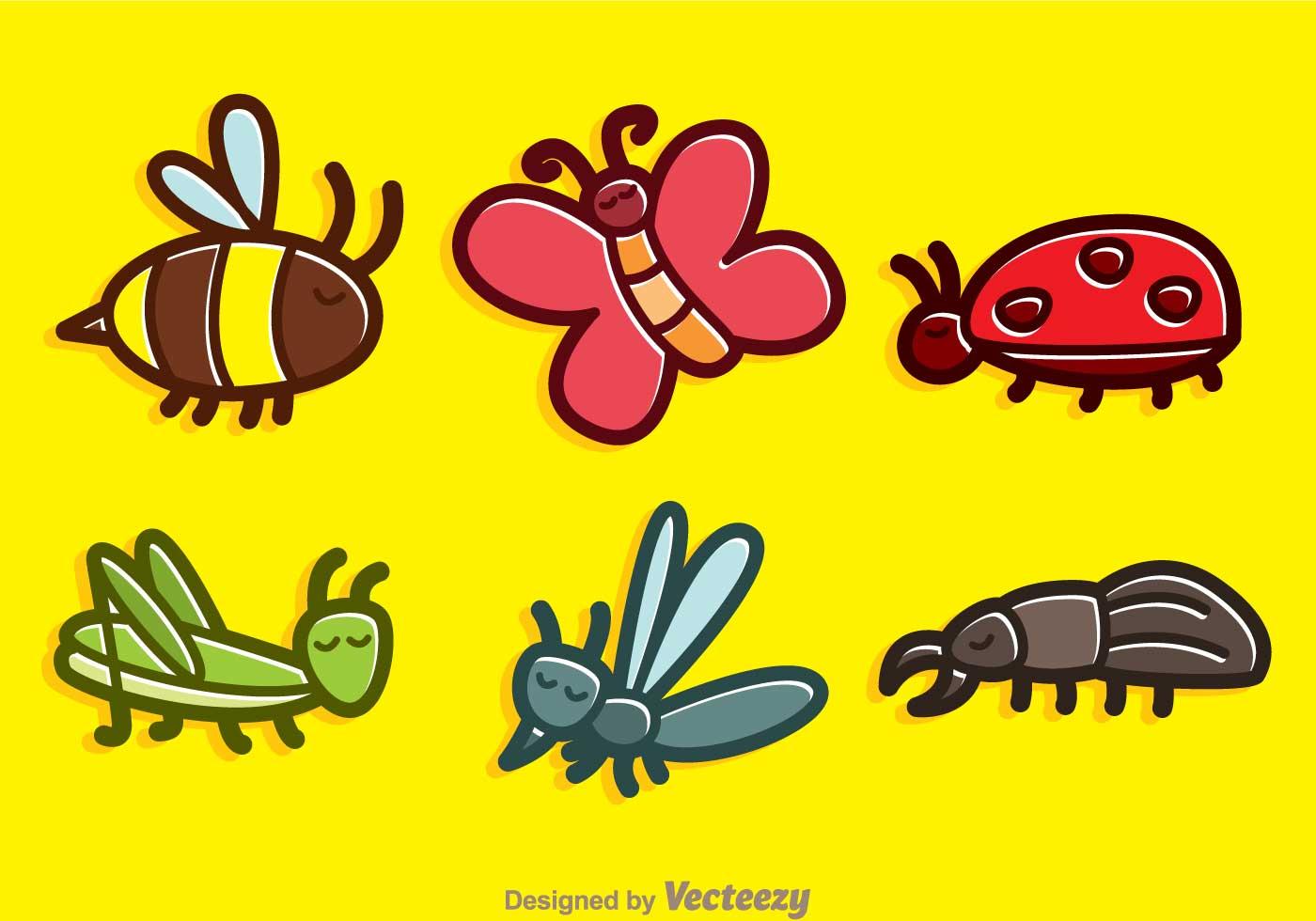 Cute Bees Wallpaper Cute Insect Cartoon Vectors Download Free Vector Art