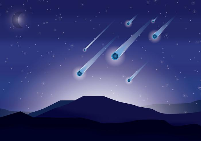 Starry Fall Night Wallpaper Meteor Shower Vector Download Free Vector Art Stock