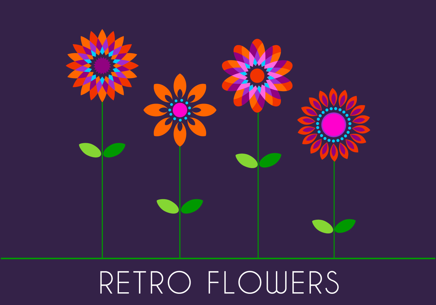 Stylish Wallpaper Heart Retro 70s Flowers Download Free Vector Art Stock