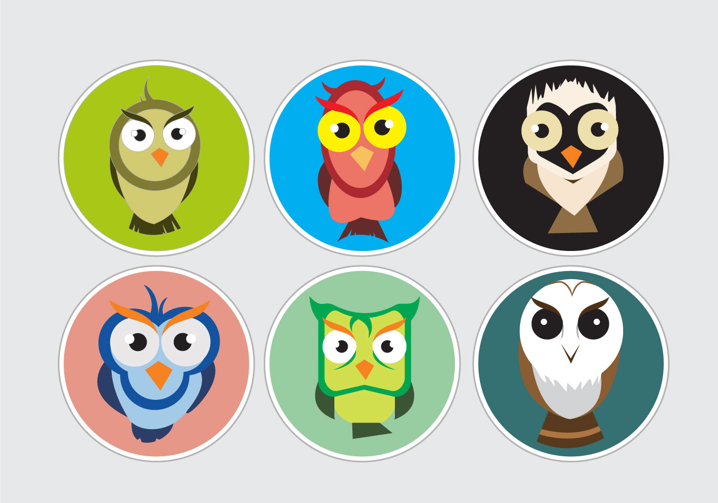 Colorful Pictures Of Owls Colorful Barn Owl Stickers Download Free Vector Art