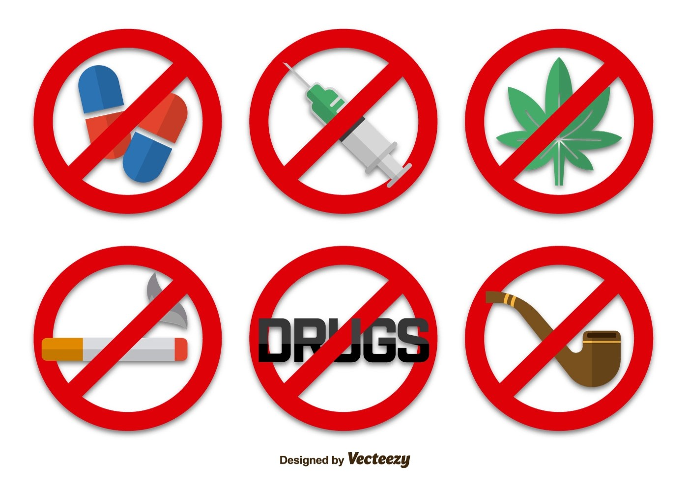 No Drugs Signs Icons Download Free Vector Art Stock