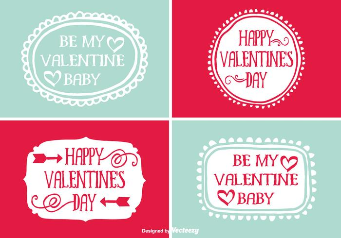 Cute Hand Drawn Style Valentine\u0027s Day Labels - Download Free Vector