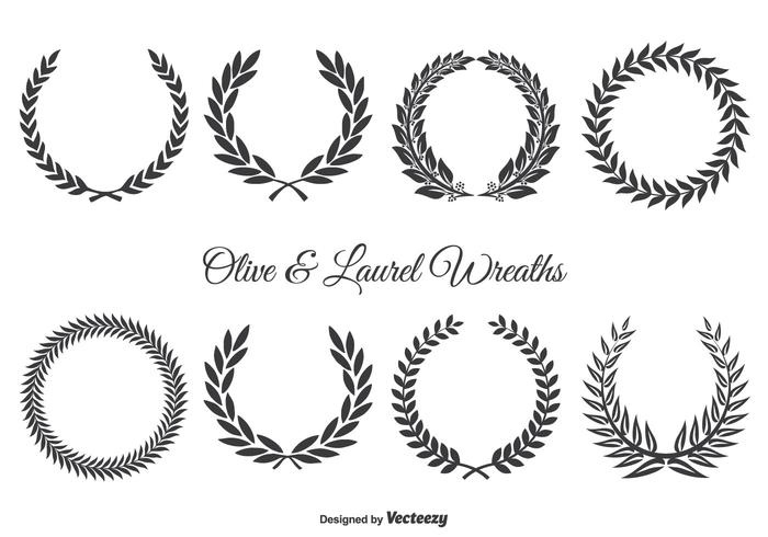 Cute Wallpapers First Initial Letter A Olive And Laurel Wreath Set Download Free Vector Art