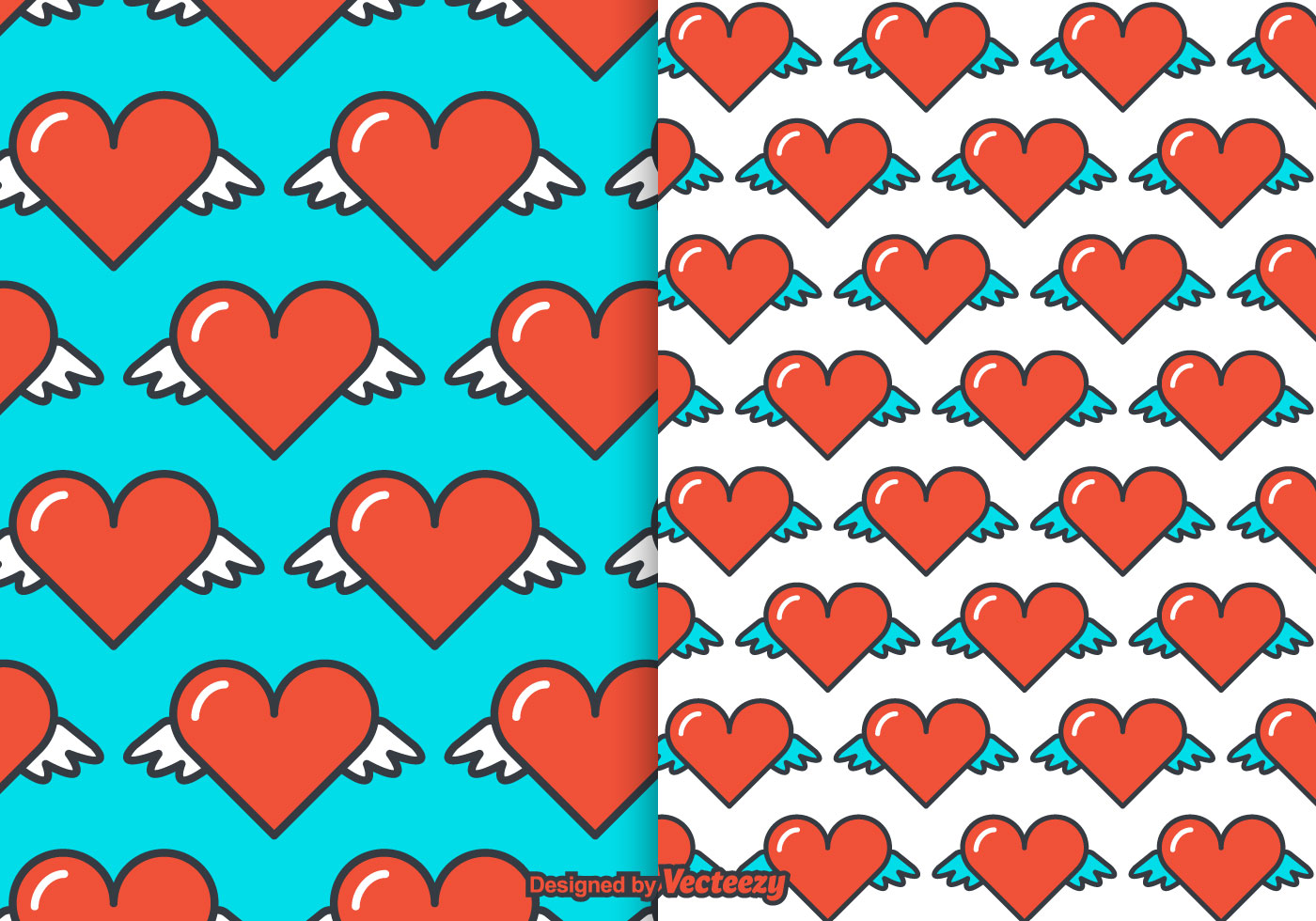Tribal Cute Wallpaper Free Heart Wings Vector Pattern Download Free Vector Art