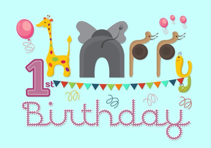 Vector Illustration of 1st Birthday Card - Download Free Vector Art - birthday greetings download free