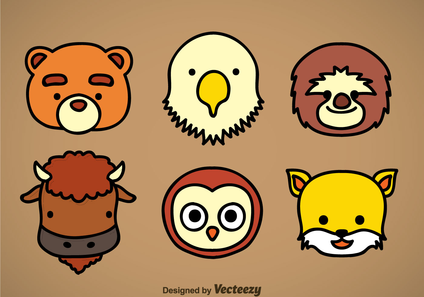 Cute Baby Animals Wallpaper Icon Cute Animal Head Icons Vector Sets Download Free Vector