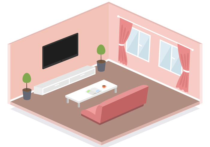 3d House Wallpaper Room Free Isometric Living Room Vector Download Free Vector