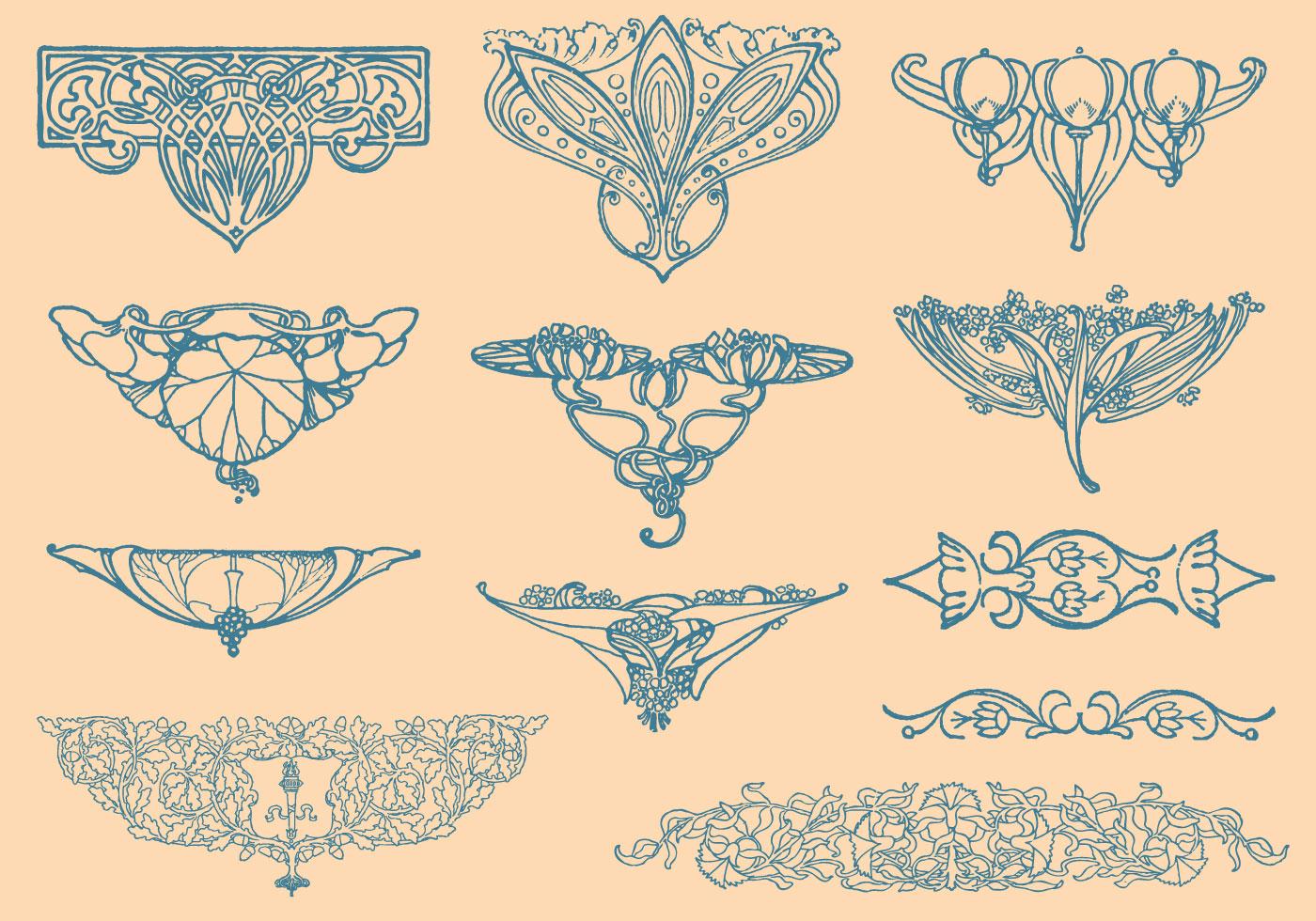 Art nouveau vector elements download free vector art