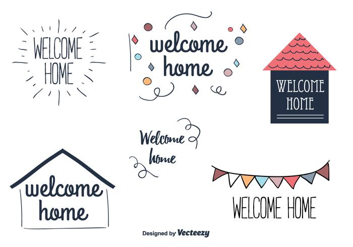 Welcome Home Vector Labels - Download Free Vector Art, Stock
