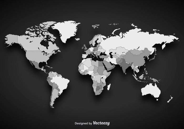 Grayscale Vector Worldmap - Download Free Vector Art, Stock Graphics