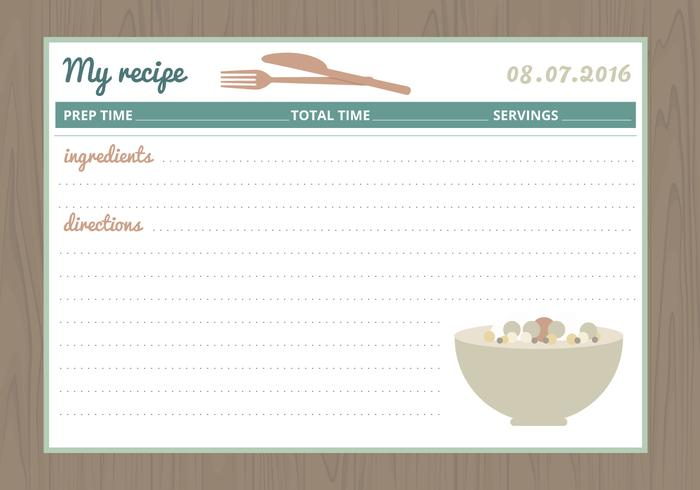 Vector Recipe Card - Download Free Vector Art, Stock Graphics  Images